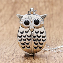 Cartoon Cute Silver Vintage Night Owl Necklace Pendant Quartz Pocket Watch Necklace
