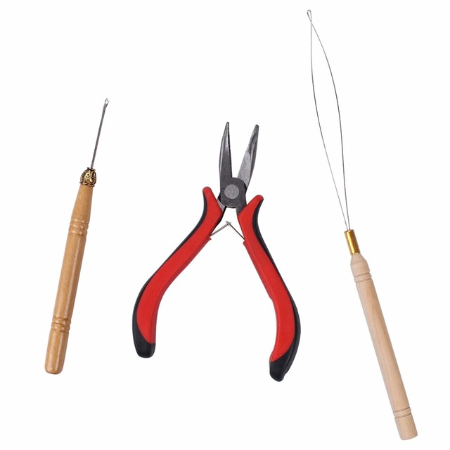 3 In 1 Feather Hair Extension Tool Kits Pliers Loop Hook For Micro