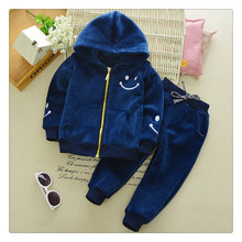 2 pcs spring autumn baby boy clothes set boys blue hooded coat kids jacket children pants girls trousers outerwear baby clothing