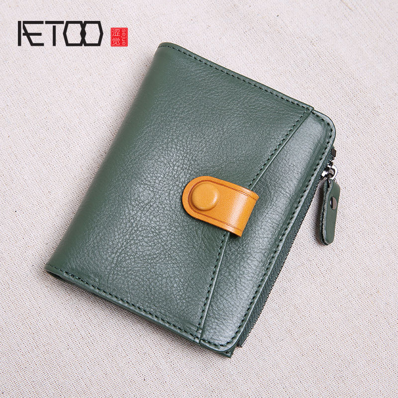 AETOO Leather Wallet Female Short Paragraph Small Fresh Folding Top Layer Cowhide Women's Simple Small Wallet Ultra-thin New
