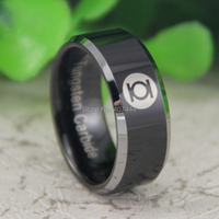 Free Shipping USA UK Canada Russia Brazil Hot Sales 8MM Green Lantern His Her Black Silver