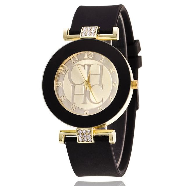0926f702aae Genebra Marca de moda Preto Casual Vestido de Quartzo Relógios Das Mulheres  de Cristal de Silicone