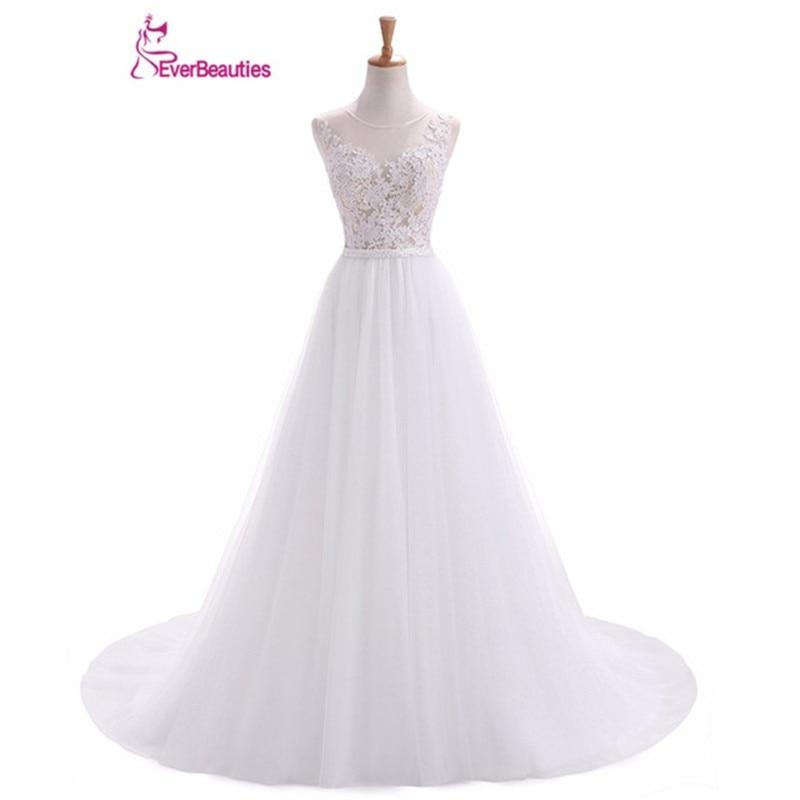 Seksikas varrukateta valge tüll Pulmad kleidid võluv aplikatsioonid kristall-line põrandapikkus Vestidos de novia