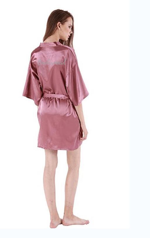 dark pink robe silver letter kimono personalised satin pajamas wedding robe bridesmaid sister mother of the bride robes