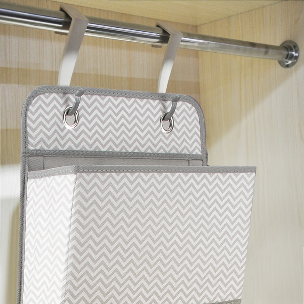 Image 5 - High Quality 4 Pockets Door Back Wall Bedside Cabinet Wardrobe Hanging Bag Storage Organizer for Sundries Underwear ToysHanging Organizers   -