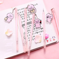 36 pcs/lot Pink Pig Pendant Gel Pen 0.38mm black ink neutral pens Stationery School & Office writing Supply Promotional Gift