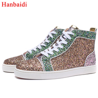 Модная мужская повседневная обувь из блестящей ткани с блестками, с высоким берцем, с круглым носком, на шнуровке, лоферы, кроссовки, брендов