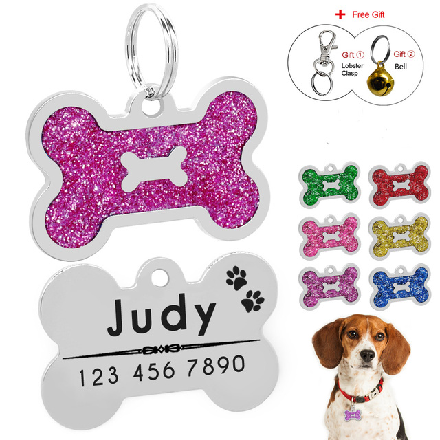 b3beaee73770 US $1.99 |Glitter Custom Pet Dog Tag Personalized Engraved Dogs Cat ID Tags  Bone Shape Pet Collar Pendant Free Engraving Free Gift Bell-in ID Tags ...