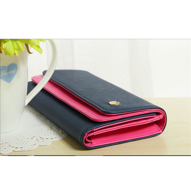 Multi-Function PU Women Wallet Durable Hit Color Navy Blue Credit Card Ticket ID Card Cash Holder Casual Snap Organizer Bag