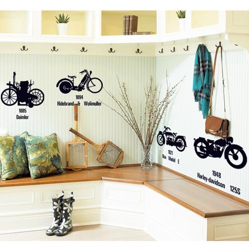 Creative Black Bicycle Motorcycle DIY Wall Stickers TVSofa - Wall decals entryway