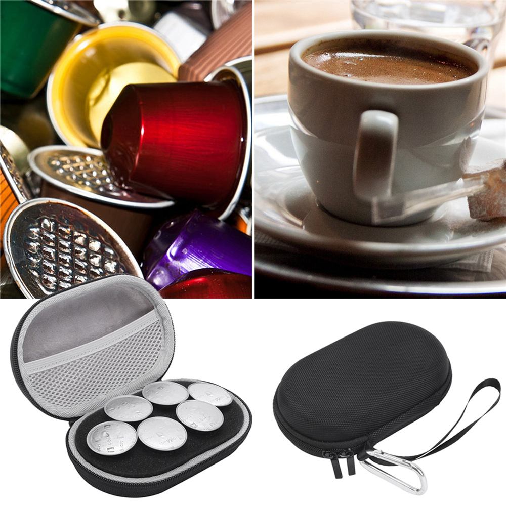 EVA Portable Storage Bag Case for 6pcs Nespresso Capsules Coffee Pods Travel Carrying Protective Pouch Case for Coffee Pods