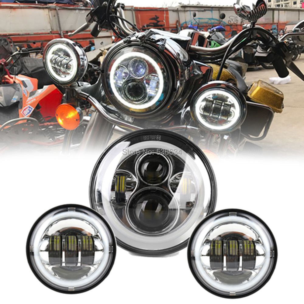 7 Inch LED Round Projector Daymaker Headlight With Matching 4.5 Inch LED Passing Lamps For Harley Davidson Softail Slim