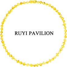 RUYI PAVILION Natural Baltic Amber Necklace Women Adult Long handmade Honey Baroque Polished 45cm-50cm