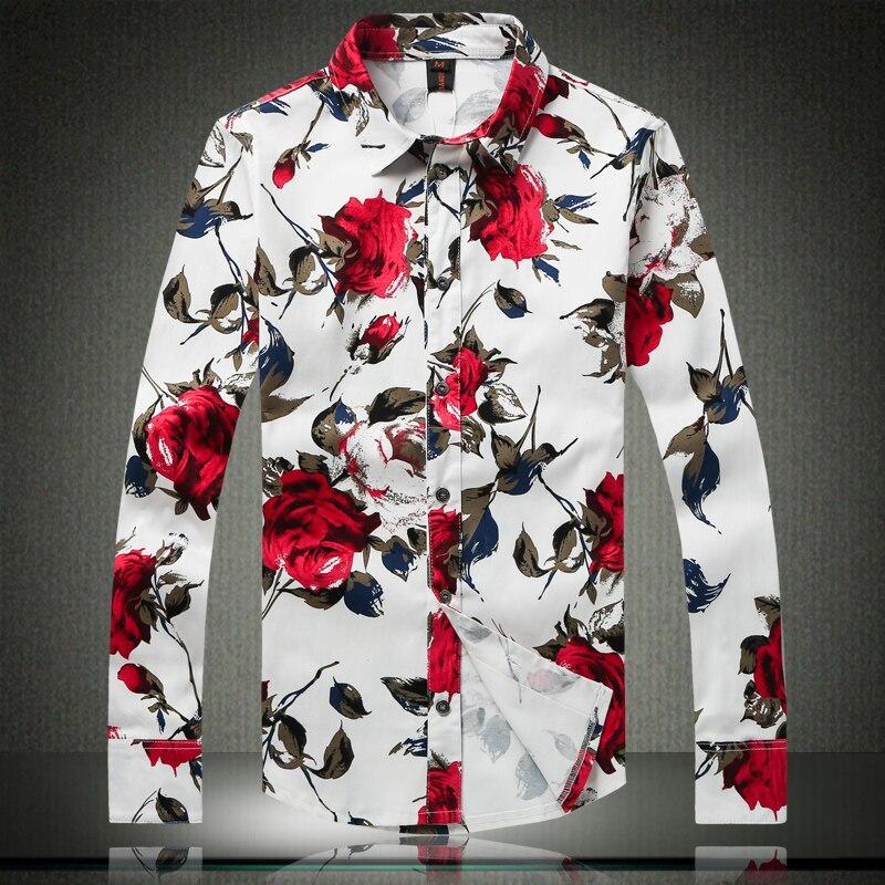 Freizeithemd für Männer Rote Blumenmarke Bedruckte Hemden Modehemd - Herrenbekleidung - Foto 3