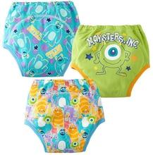 3pcs/lot Baby Training Pants Child Diaper Cover Reusable Washable Training Urine Nappy Children Underwear Cartoon Style