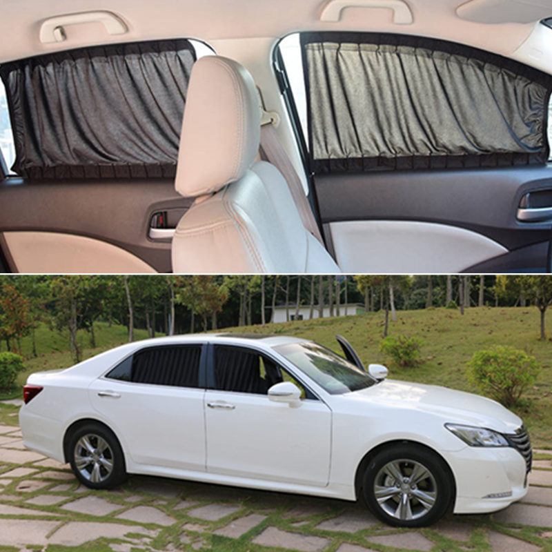 2pcs/set Car Curtains With Elastic Cord Auto Window Sun Visor Stretchable Aluminum Rail Car Side Window Sunshade Curtain S/L