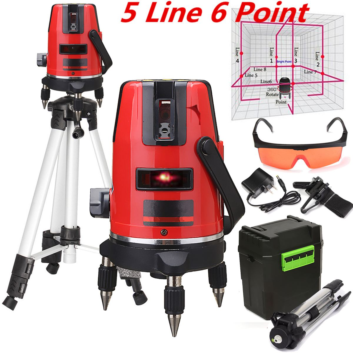 5 Line 6 Point Cross Line Red Automatic Self Leveling 360 degree Rotary Laser Level Meter Measure + Tripod hilda 360 degree self leveling cross laser level 1v1h red 2 line 1 point rotary horizontal vertical red laser levels cross laser