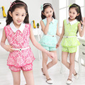 2017 New  Kids Clothes Girls 2pcs Sets Lace Summer Chiffon Knit Suit Children Turn-down Collar Floral Sleeveless Two-piece Sets