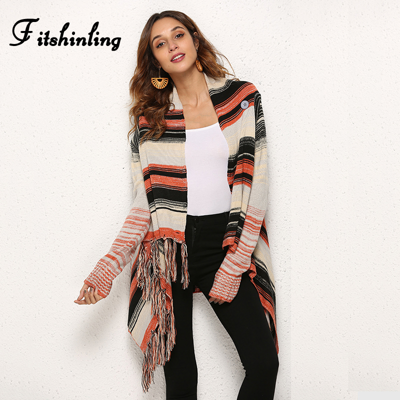 Fitshinling Irregular Fringe Vintage Sweaters Cardigans For Women Winter Fashion 2018 Jacket Female Long Cardigan Knitwear Coats