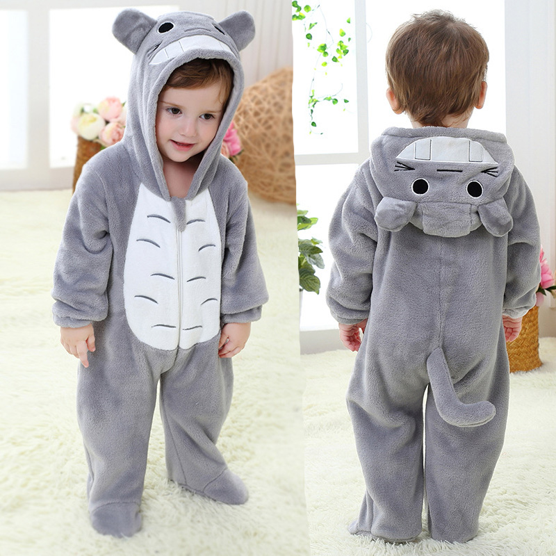 Newborn Totoro   Romper   Hooded Sleepwear Baby Girl Clothes Cartoon Jumpsuit Flannel Pajamas Onesie Boys Baby   Rompers   Home Clothes