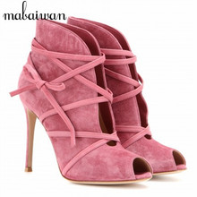 Fashion Suede Tie Up Women Ankle Boots Peep Toe Short Booties Strappy High Heel Summer Boots Women Pumps Botines Mujer