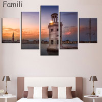 5Panel Living Room Bedroom Home Wall Decoration Fabric Poster Cefalu Italy Sicily Sea Landscape Mountain Rock