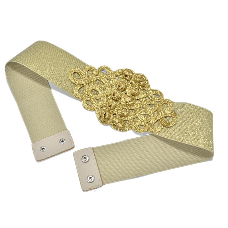 Luxury Brand Chinese Knot Ethnic Wide Stretchy Waistband Novelty Black/Gold/Silver Elastic Wide Belt For Women Dress Bg-923