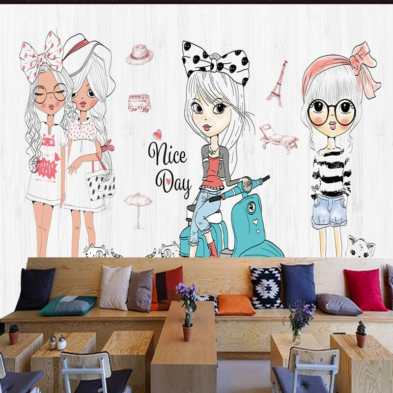 Foto papel pintado a mano chica de dibujos animados de moda mostrar tienda de ropa fondo de - Papel pintado a mano ...