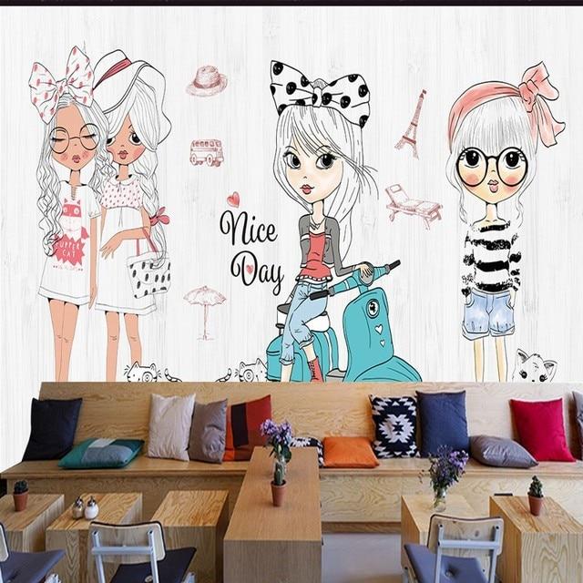 photo wallpaper hand painted cartoon girl fashion show clothing