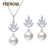 FEEHOW New AAA CZ Zirconia & Simulated Pearl Earrings Pendant Necklace Set Fashion Crystal Elegant Women Wedding Jewelry FWSP305