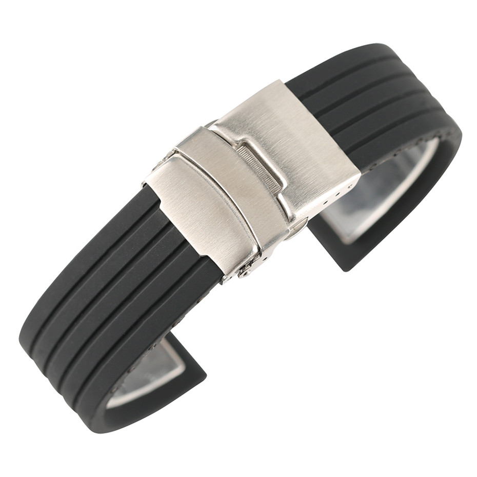 18mm/20mm/22mm/24mm Width Black Silicone Watchband With Stainless Steel Fold Over Clasp Strap Watches Replacement Bracelet jansin 22mm watchband for garmin fenix 5 easy fit silicone replacement band sports silicone wristband for forerunner 935 gps