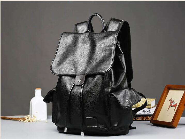 Super PU leather Men Male Backpack College Student School Backpack for Teenagers Vintage Casual Travel Daypack with flip 3