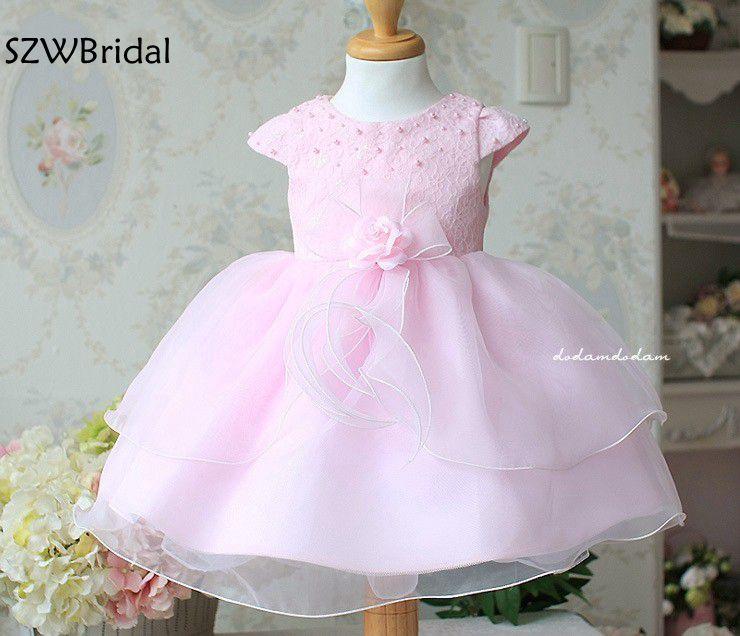 Fashion High Neck Pink   flower     girl     dresses   2019 Vestido daminha Lace Beaded Vestidos de primera comunion Vestido de daminha