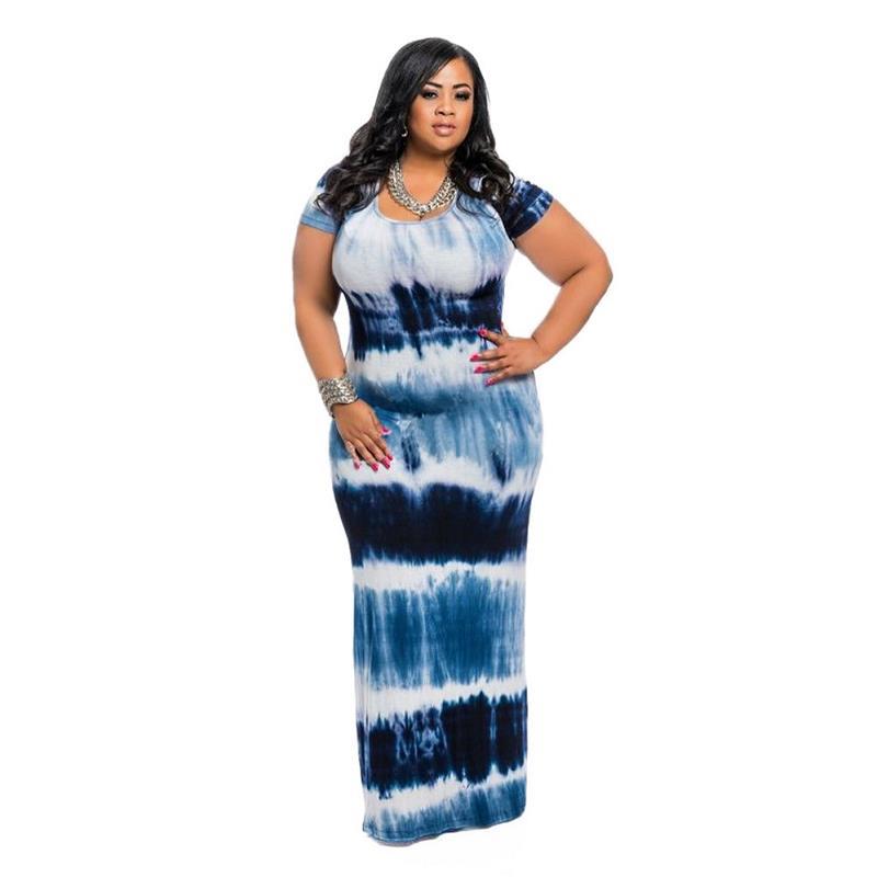 adogirl short sleeve round neck tie dye plus size dress long