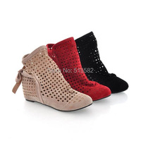 2017 Elevator suede hidden wedge low heels short boots fashion casual slip-on hole sandal booties with bow large size 34-43 shoe