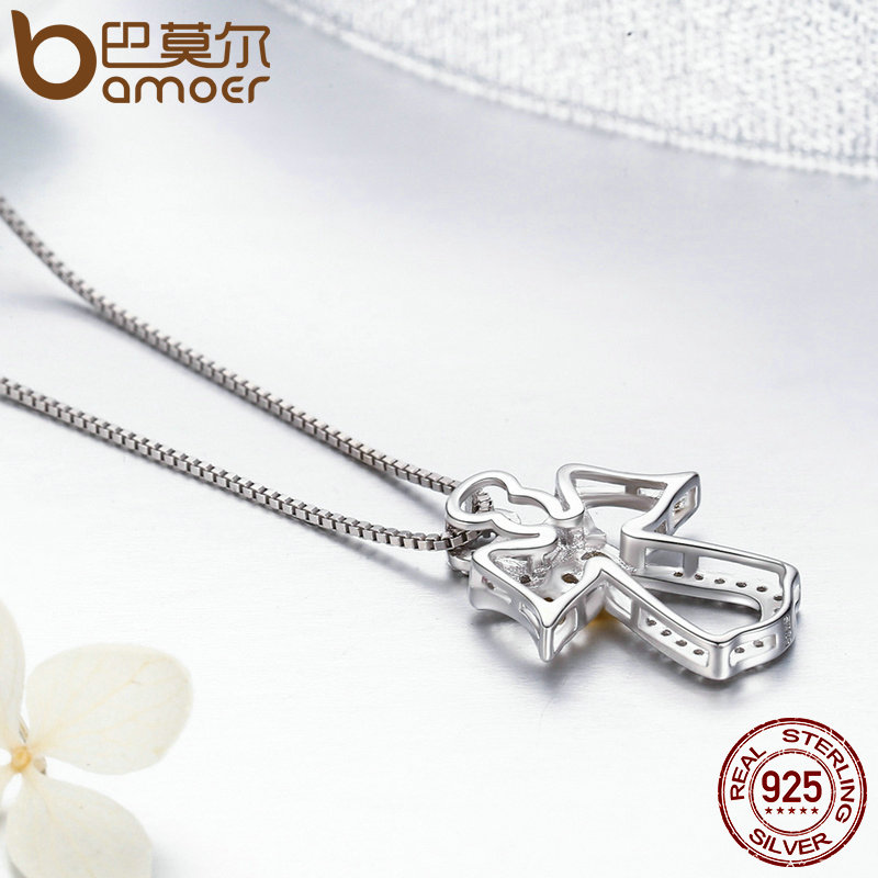 BAMOER Authentic 925 Sterling Silver Guardian Angel Heart Pendant Necklaces Dazzling CZ Luxury Sterling Silver Jewelry BAMOER Authentic 925 Sterling Silver Guardian Angel Heart Pendant Necklaces Dazzling CZ Luxury Sterling Silver Jewelry SCN123