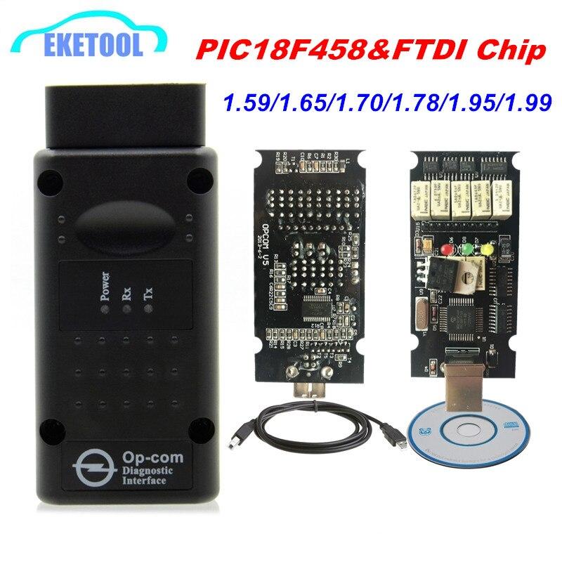 Newt Firmware OPCOM 1,99 1,95 1,78 1,70 1,65 OBD2 KÖNNEN-BUS Code Reader Für Opel OP COM OP-COM Diagnose PIC18F458 FTDI Chip