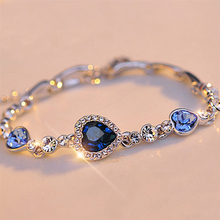 Fashion Luxury Love Rhinestone Zircon Bangle Bracelet High Quality Charm Female Girl Gift FC0054