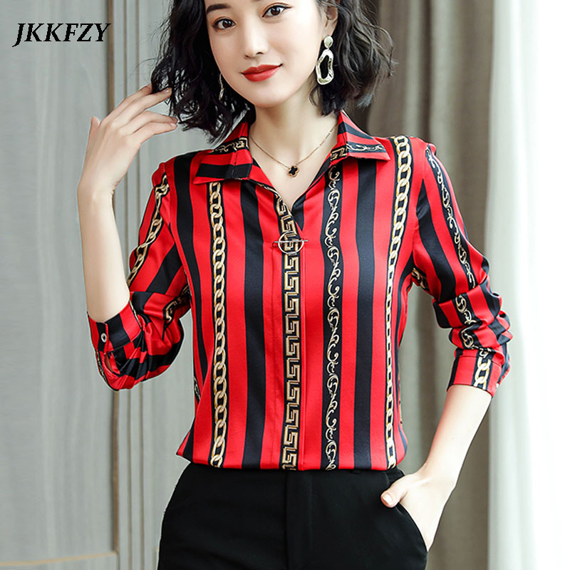 Women Blouses Fashion Long Sleeve Turn Down Collar Office Elegant Shirt High Quality Luxury Real Silk Shirt