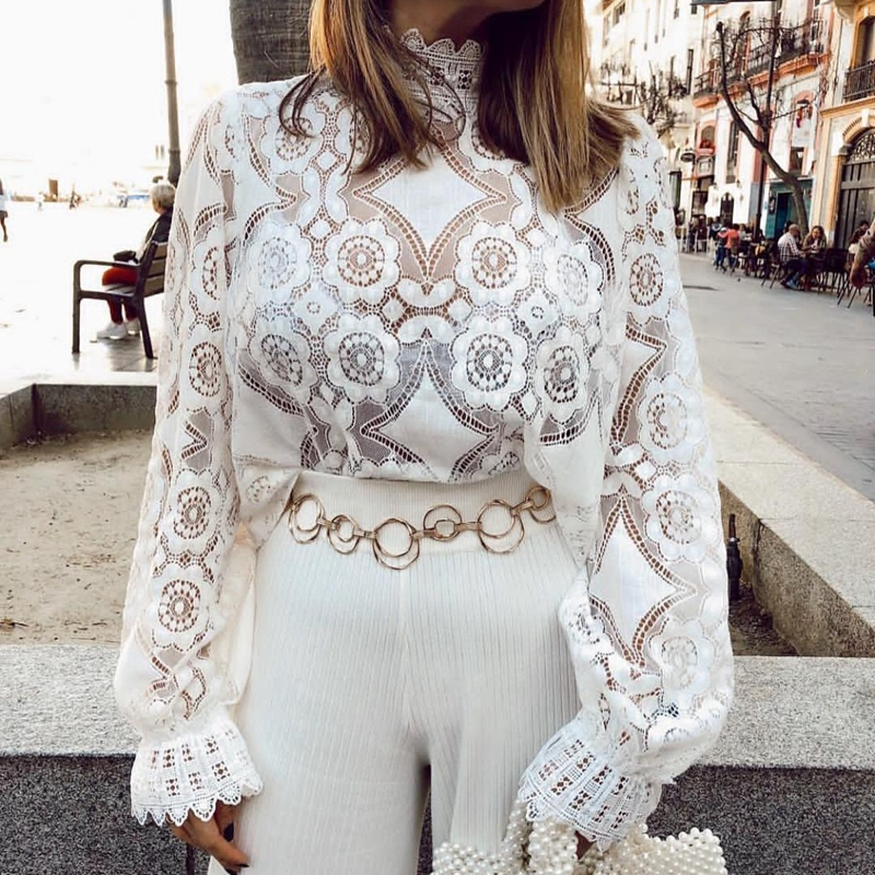 2019 New Collar collar sexy lace Shirt Wedding Engagement Lace shirt bridesmaid dress Shirt wild lining Women 39 s Clothing in Blouses amp Shirts from Women 39 s Clothing