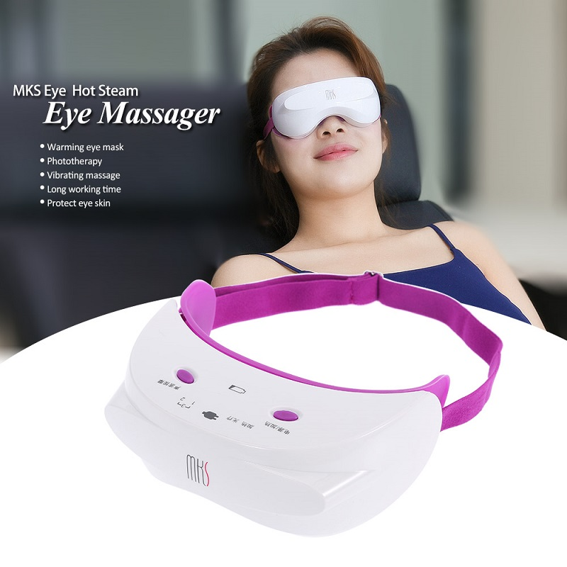 2017 New High quality MKS USB Charge Eye SPA Massager Hot Steam Eye Massager Vibrating Massage Eyes Instruments Eye Care Tools