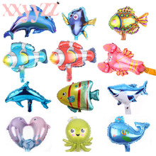 XXYYZZ mini Fish Animal Balloon Shark lobster octopus Clown Fish Ocean Animal Theme Party Kids Gifts Birthday Party Decoration