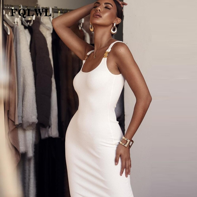 7e091002a2810 US $14.9 34% OFF|FQLWL Ribbed Knitted Wrap Maxi Long Dress Female Backless  White Black Bandage Sexy Bodycon Dress Women Ladies Club Party Dresses-in  ...