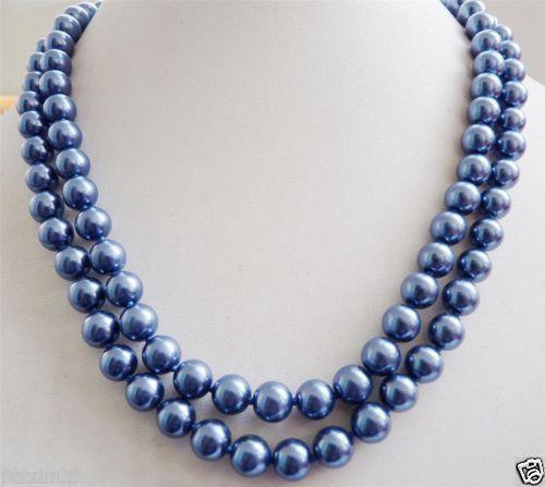 "Venda Hot new Style >>>>> Amor 10 MM Azul Marinho Shell Pérola Colar AAA 32 ""k05"