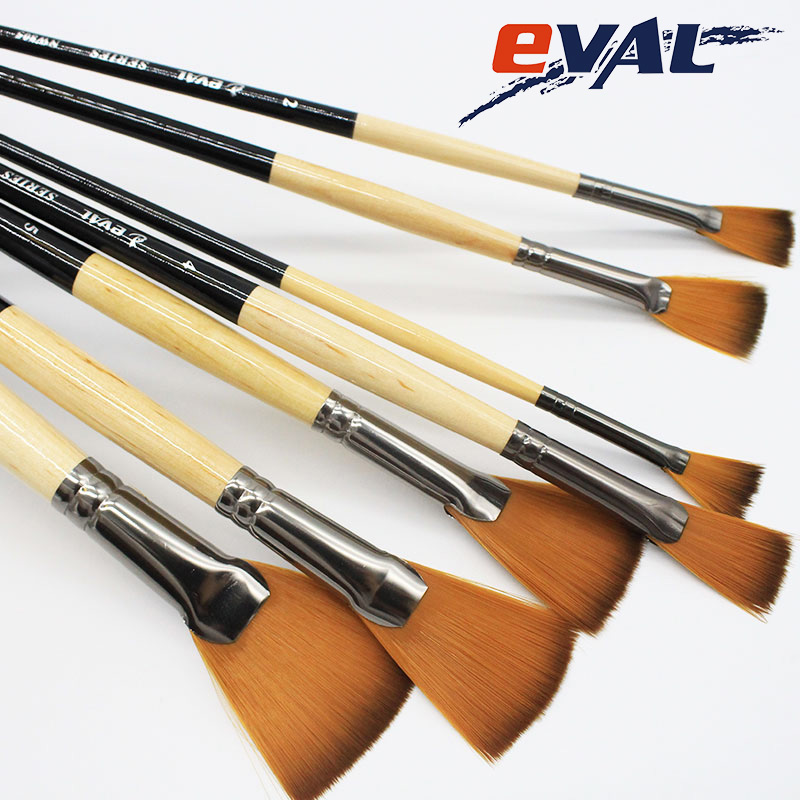 Eval 7pcs/Set Professional Fan Shape Nylon Hair Black Wooden Oil Painting Watercolor Bru ...
