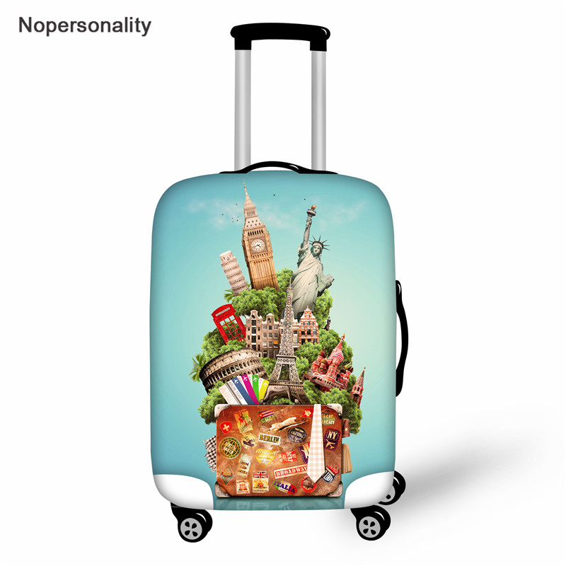 Nopersonality Vintage Travel Stickers Prints 2019 Suitcase Waterproof Cover,Elasticity Thicken Travel Luggage Cover Dust Cover