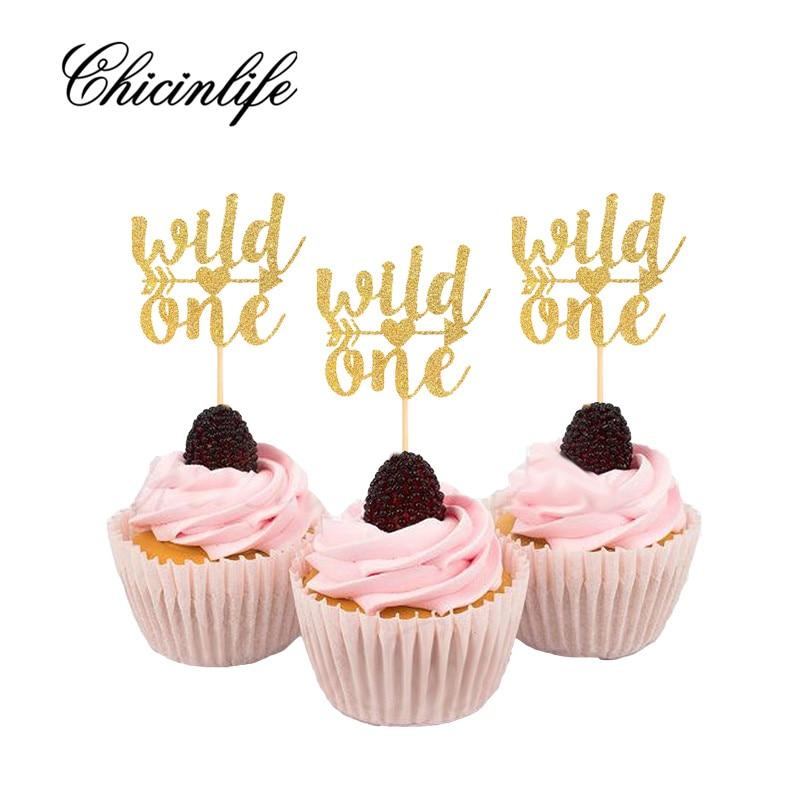 Chicinlife 10Pcs Glitter Wild One first birthday Cake ...