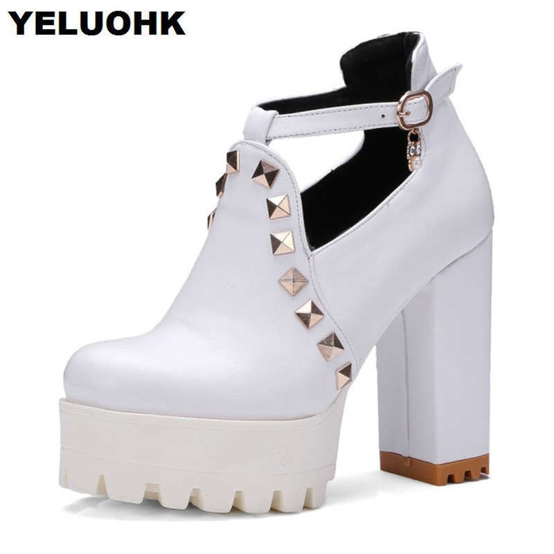 Sexy White Platform Shoes Women High Heels Thick Heel Ladies Shoes Pumps 11cm Leather Shoes Women Big Size 43 awei headset headphone in ear earphone for your in ear phone bud iphone samsung player smartphone earpiece earbud microphone mic page 3