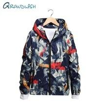 Grandwish Men's Hooded Jackets Camouflage Pilot Bomber Jacket Plus Size 7XL Men Outwear Clothing Windbreaker Hooded Jacket,ZA117
