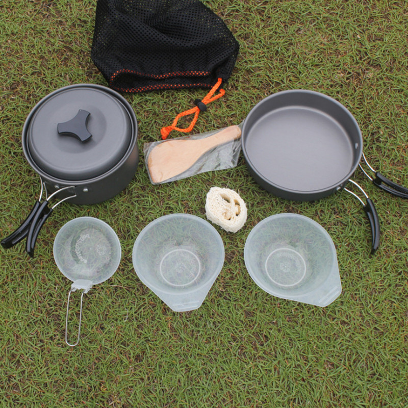 1-2 Person Picnic Self Driving Travel Ultralight Aluminum Tableware Frying Pan Suits Outdoor Camping Hiking Cookware Pots Sets